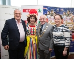 Robert Nutty, Spar UL, Myles Breen, Dame Lola, Sinead Hope, UCH, Kieran O'Hanlon, Mayor of Limerick City and County Council Sinead Hope, UCH and at the official launch of University Concert Hall panto, Beauty and the Beast at King Johns Castle. The star studded cast of the SPAR Panto, Beauty and the Beast, were out in force today to launch this year's show which runs at University Concert Hall, Limerick from December 19th. Set against the stunning backdrop of King John's Castle in Limerick's Mediaeval Quarter the fairytale cast, in full costume, looked very much at home. Limerick comedian Karl Spain, most recently seen in RTÉ's Celebrity Operation Transformation, joined other newcomers to this year's panto at University Concert Hall -Aoibhin Garrihy and Tom O'Mahony - together with the host of long serving familiar faces which already include RTÉ's George McMahon, Richie Hayes and Leanne Moore. Picture: Sean Curtin True Media.