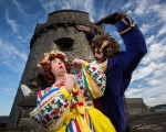 1/11/16 REPRO FREE Myles Breen, Dame Lola and The Beast at the launch of at the official launch of University Concert Hall panto, Beauty and the Beast at King Johns Castle. The star studded cast of the SPAR Panto, Beauty and the Beast, were out in force today to launch this yearÕs show which runs at University Concert Hall, Limerick from December 19th. Set against the stunning backdrop of King JohnÕs Castle in LimerickÕs Mediaeval Quarter the fairytale cast, in full costume, looked very much at home. Limerick comedian Karl Spain, most recently seen in RTƒÕs Celebrity Operation Transformation, joined other newcomers to this yearÕs panto at University Concert Hall -Aoibhin Garrihy and Tom OÕMahony - together with the host of long serving familiar faces which already include RTƒÕs George McMahon, Richie Hayes and Leanne Moore. Picture: Sean Curtin True Media.